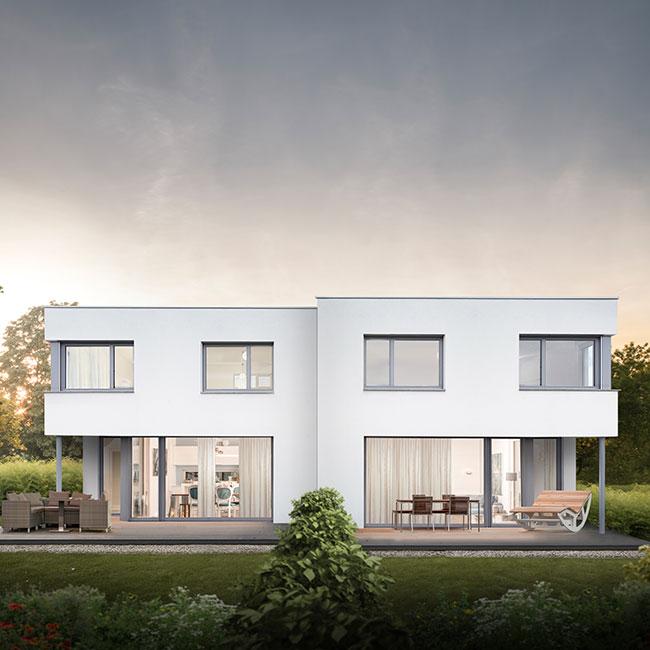 Architektur-Doppelhaus-Flachdach-mit-Eckfenstern_Haeuser-VERSETZT